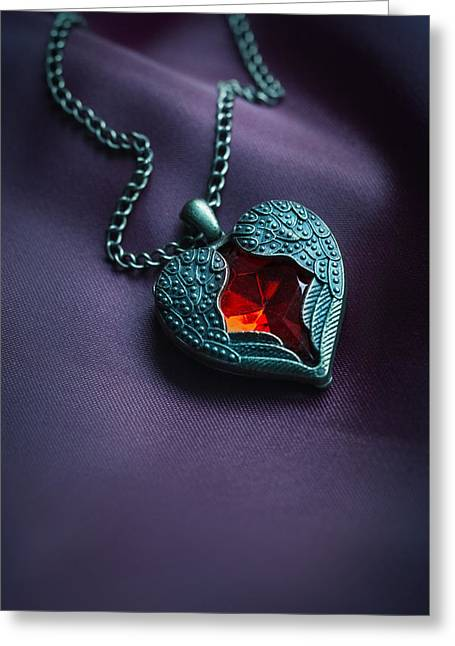 Value Greeting Cards - Winged heart with red gem Greeting Card by Jaroslaw Blaminsky