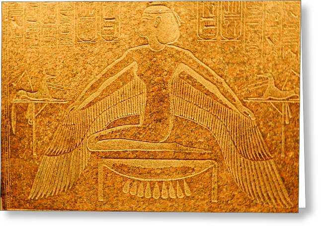 Egyptian Sarcophagus Greeting Cards - Winged Isis Greeting Card by Joanne Main