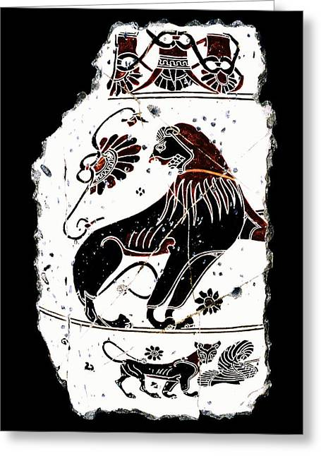 Ancient Greeting Cards - Winged Lion Greeting Card by Steve Bogdanoff