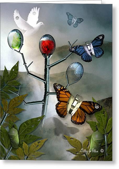 Mystical Landscape Greeting Cards - Winged Metamorphose Greeting Card by Billie Jo Ellis