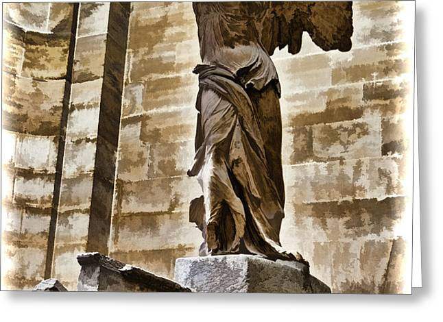 Winged Victory - Louvre Greeting Card by Jon Berghoff