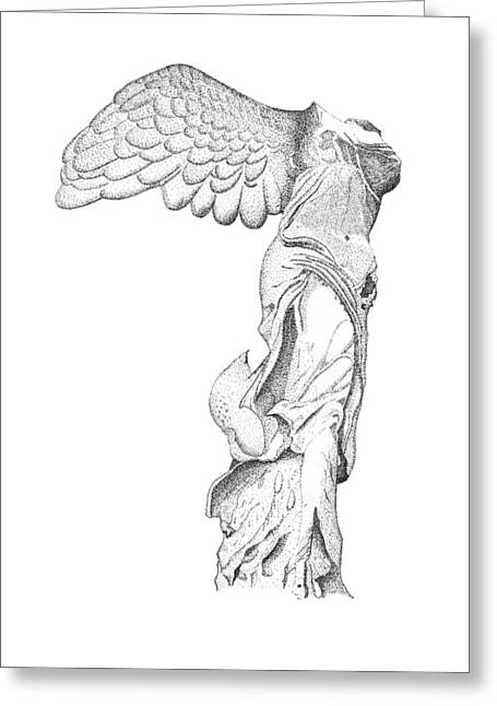 """winged Victory"" Greeting Cards - Winged Victory of Samothrace Greeting Card by Steven Tomadakis"