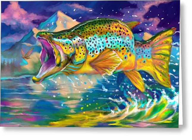 """rainbow Trout"" Greeting Cards - Wings And Fins  Greeting Card by Yusniel Santos"