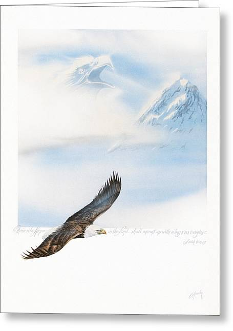 Eagle Paintings Greeting Cards - Wings As Eagles Greeting Card by Cliff Hawley