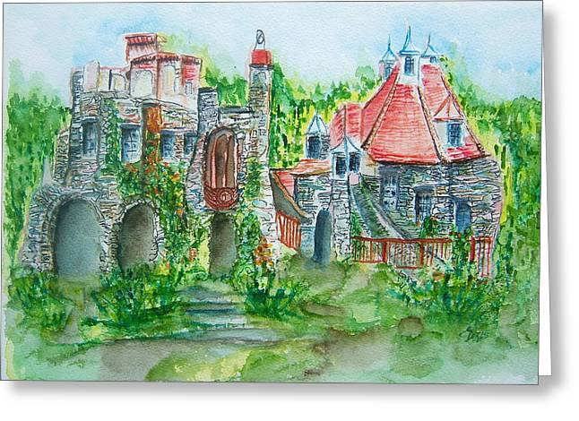 Castle In Valley Greeting Cards - Wings Castle Greeting Card by Elaine Duras