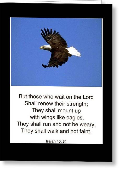 Wait For The Lord Greeting Cards - Wings Like Eagles Greeting Card by For The Love Of Art