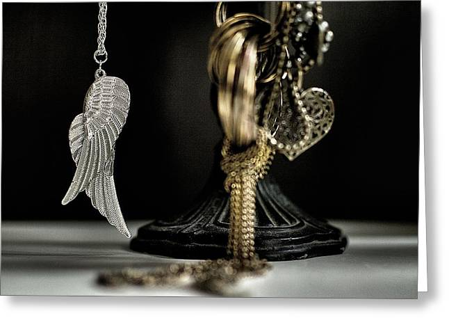 Gold Necklace Greeting Cards - Wings Of Desire I Greeting Card by Marco Oliveira