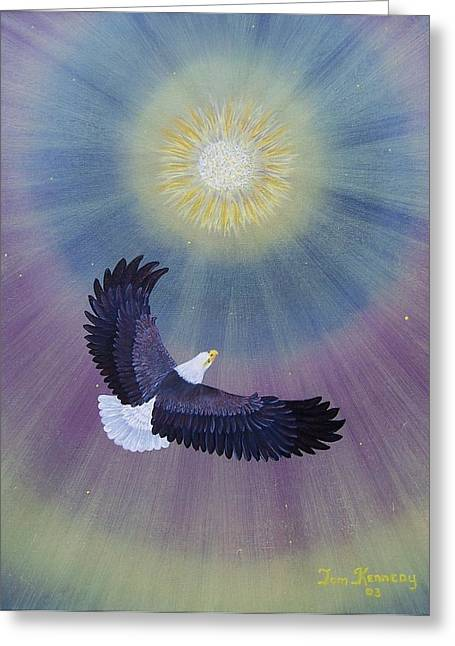 Etc. Paintings Greeting Cards - Wings Of Eagles Greeting Card by Thomas F Kennedy