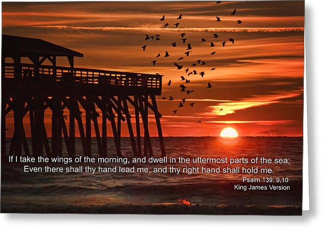 King James Version Greeting Cards - Sunrise With Psalm Scripture Greeting Card by Vizual Studio