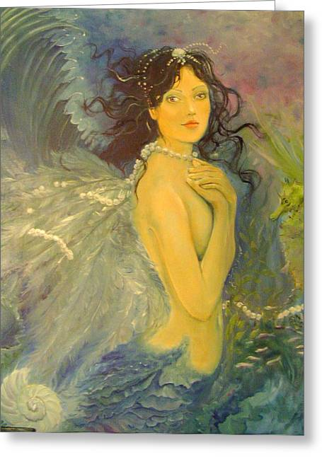 Angel Mermaids Ocean Paintings Greeting Cards - Wings Greeting Card by Victoria Maine