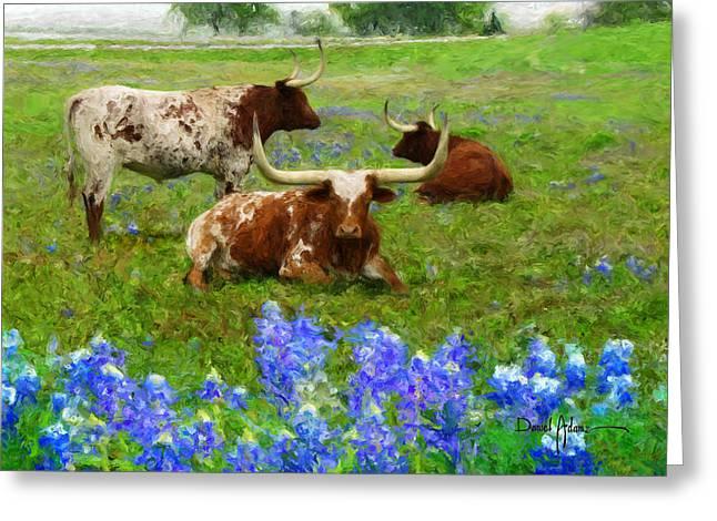 Texas Cowgirl Greeting Cards - Winkin Blinkin and Nod Greeting Card by Daniel  Adams