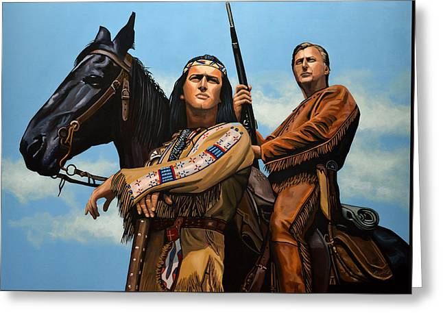Kids Books Paintings Greeting Cards - Winnetou and Old Shatterhand Greeting Card by Paul Meijering