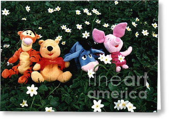 Piglets Greeting Cards - Winnie the Pooh and friends Greeting Card by Randi Grace Nilsberg