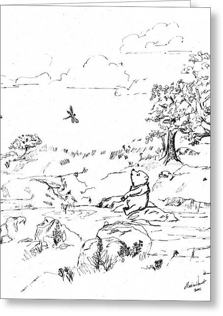 Pen And Ink Drawing Greeting Cards - Winnie the Pooh by the Creek   After E H Shepard Greeting Card by Maria Hunt