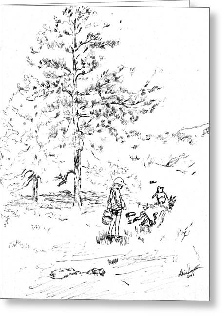 Teen Greeting Cards - Winnie The Pooh goes on a Picnic   after E H Shepard Greeting Card by Maria Hunt