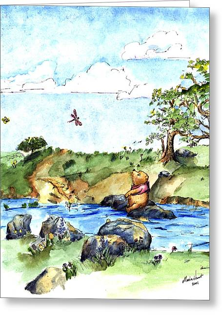 Kid Paintings Greeting Cards - Winnie-the-Pooh -River after E  H Shepard Greeting Card by Maria Hunt