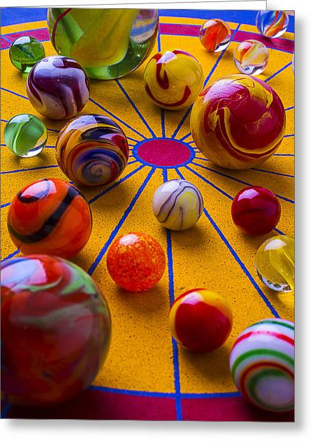 Amusements Greeting Cards - Winning At Marbles Greeting Card by Garry Gay