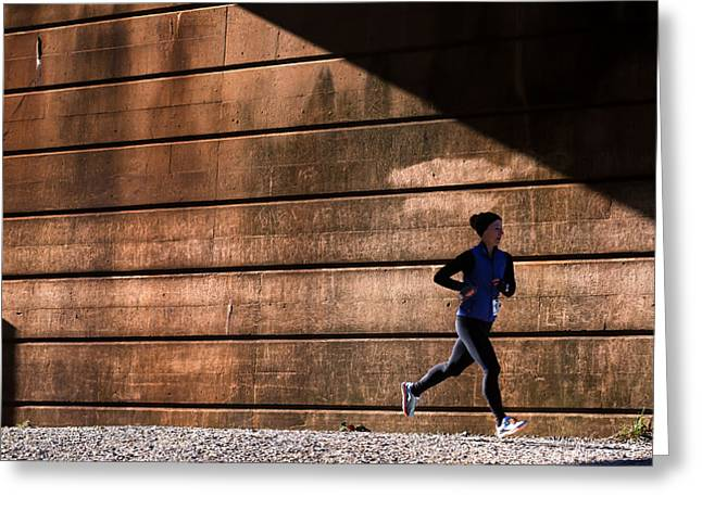Endurance Sports Greeting Cards - Winning Shadow Greeting Card by Geoffrey Baker