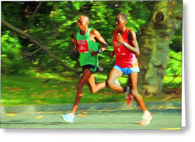Runner Greeting Cards - Winning The Race Greeting Card by Alice Gipson