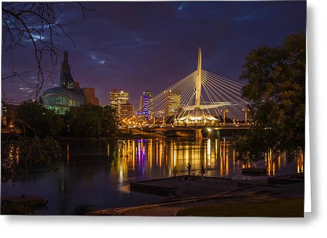 Manitoba Greeting Cards - Winnipeg Dusk Greeting Card by Bryan Scott