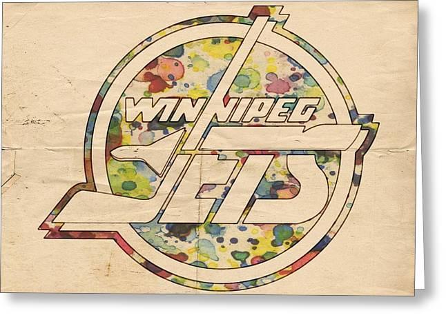 Winnipeg Jets Hockey Art Greeting Card by Florian Rodarte