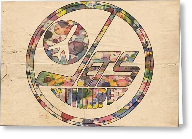 Winnipeg Jets Hockey Poster Greeting Card by Florian Rodarte
