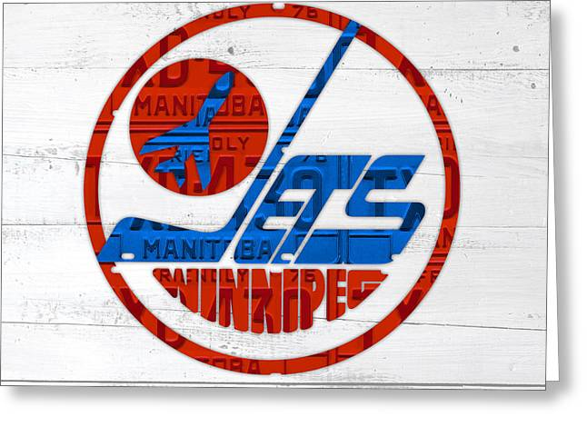 Winnipeg Jets Retro Hockey Team Logo Recycled Manitoba Canada License Plate Art Greeting Card by Design Turnpike