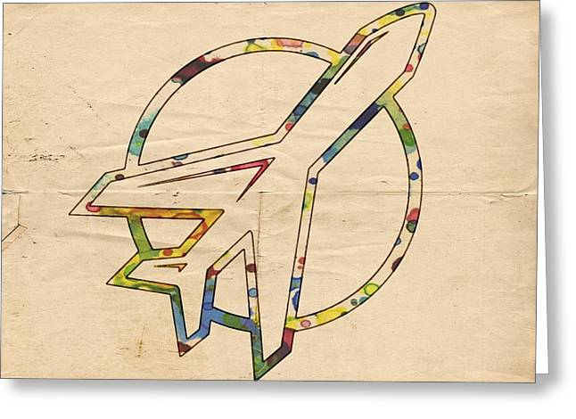 Winnipeg Jets Retro Logo Greeting Card by Florian Rodarte