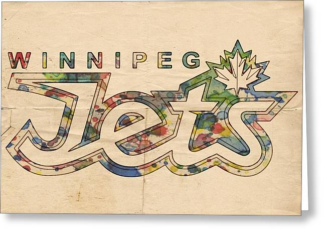 Winnipeg Jets Retro Poster Greeting Card by Florian Rodarte