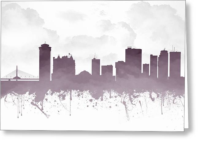 Canadian Mixed Media Greeting Cards - Winnipeg Manitoba Skyline - Purple 03 Greeting Card by Aged Pixel