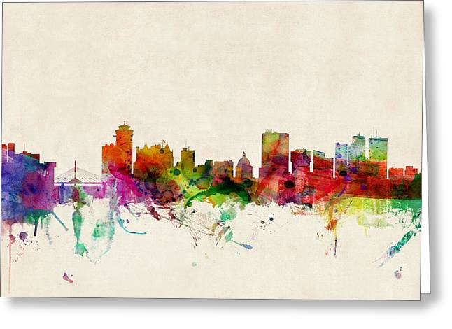 Cityscape Digital Art Greeting Cards - Winnipeg Skyline Canada Greeting Card by Michael Tompsett