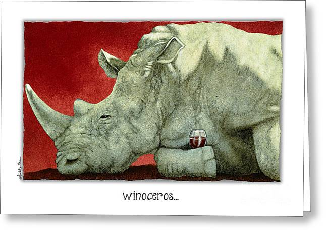 Red Wine Greeting Cards - Winoceros... Greeting Card by Will Bullas
