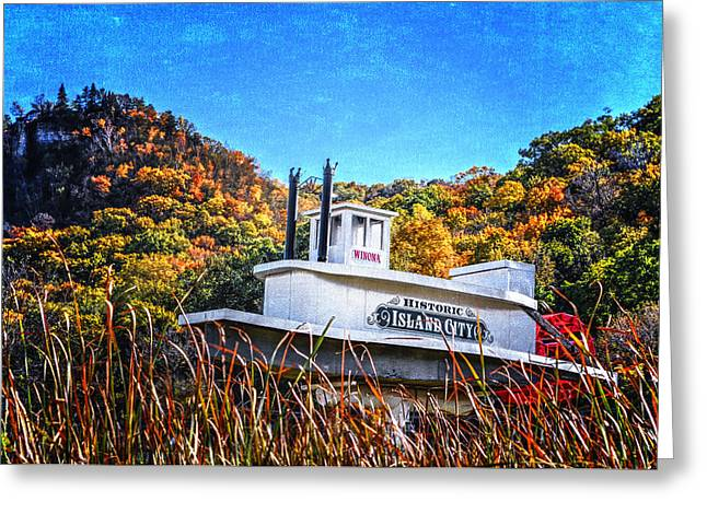 Steamboat Digital Art Greeting Cards - Winona Steamboat Sign Greeting Card by Al  Mueller