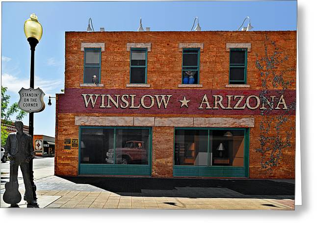 Song Greeting Cards - Winslow Arizona on Route 66 Greeting Card by Christine Till