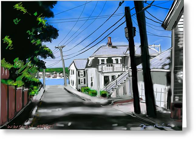 New England Ocean Drawings Greeting Cards - Winslow Street Greeting Card by Jean Pacheco Ravinski