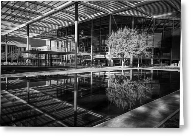 Reflecting Water Greeting Cards - Winspear Opera House BW Greeting Card by Joan Carroll