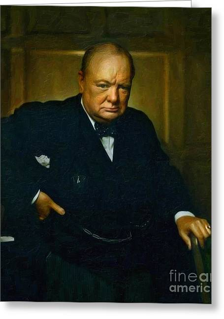 Historical Buildings Greeting Cards - Winston Churchill Greeting Card by Adam Asar