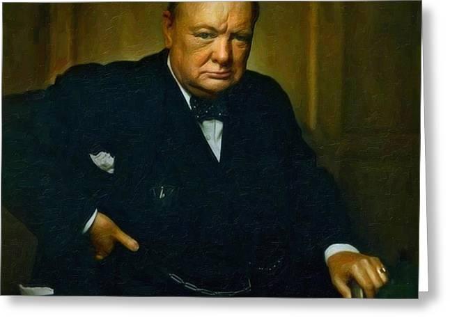 Winston Churchill Greeting Card by Adam Asar