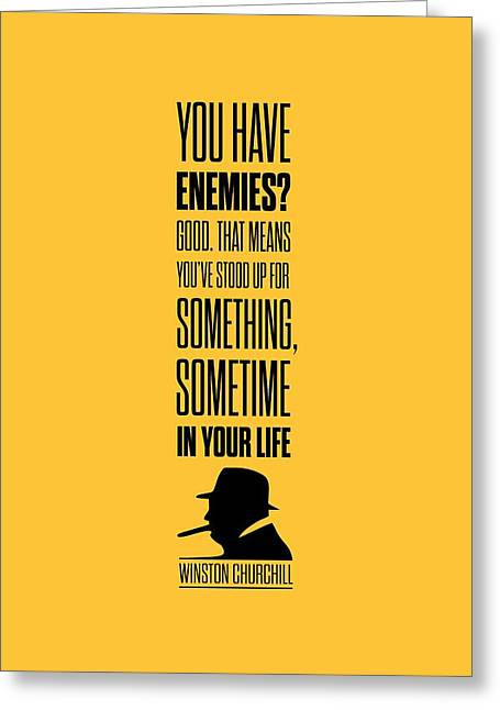 Churchill Greeting Cards - Winston Churchill Inspirational Quotes Poster Greeting Card by Lab No 4 - The Quotography Department