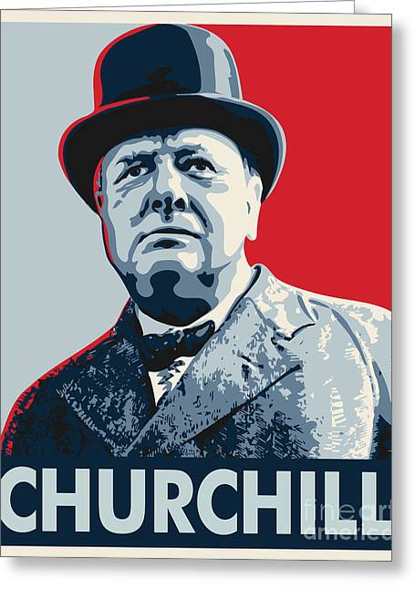 Conservative Greeting Cards - Winston Churchill Greeting Card by John Lehman