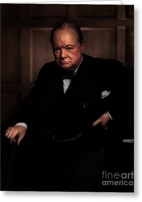 Orator Digital Art Greeting Cards - Winston Churchill Greeting Card by Michael Braham