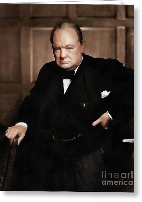 Winston Churchill Greeting Card by Vincent Monozlay