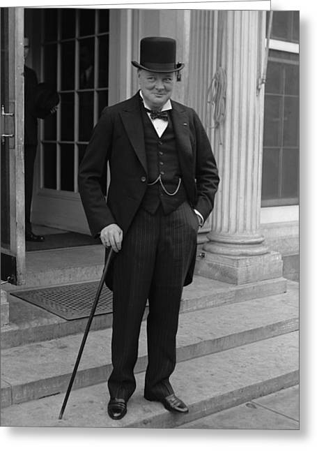 Wwii Photographs Greeting Cards - Winston Churchill Greeting Card by War Is Hell Store