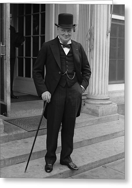 Ww11 Photographs Greeting Cards - Winston Churchill Greeting Card by War Is Hell Store