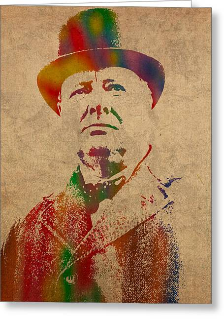 Churchill Greeting Cards - Winston Churchill Watercolor Portrait on Worn Parchment Greeting Card by Design Turnpike