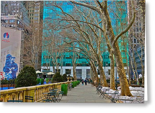 Winter 2014 at Bryant Park C Greeting Card by Dianne Somma