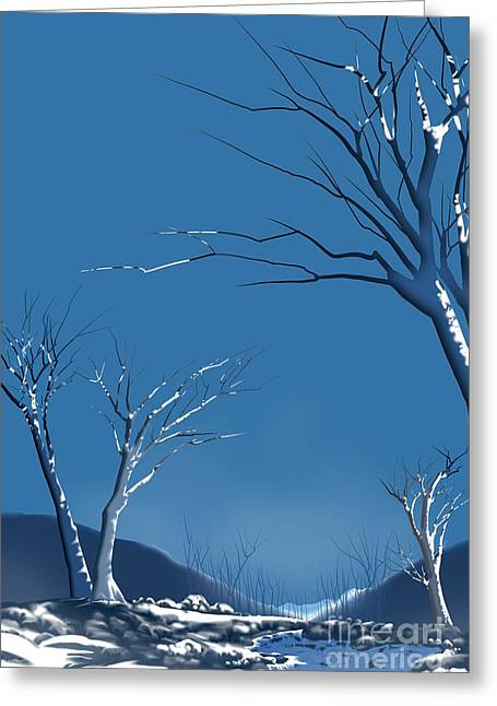 Bare Trees Mixed Media Greeting Cards - Winter Abstract Greeting Card by Bedros Awak