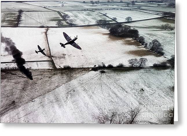 Spitfire Greeting Cards - Winter Aces Greeting Card by J Biggadike