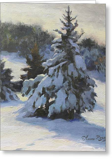 Snowy Tree Greeting Cards - Winter Adornments Greeting Card by Anna Bain