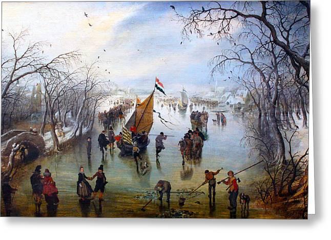 Ice-skating Greeting Cards - Winter Greeting Card by Adriaen van de Venne